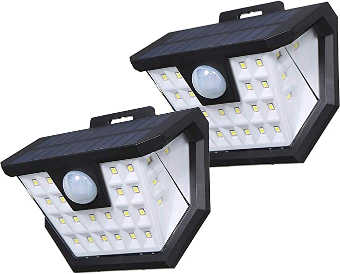 Luz Solar Exterior,Tomshine 2 Pack 2x28 LED Focos Led Exterior Solares con Sensor de Movimientos PIR Recargable IP65 Impermeable Luz Solares de Pared para Jardín,Garaje,Terraza: Amazon.es: Iluminación