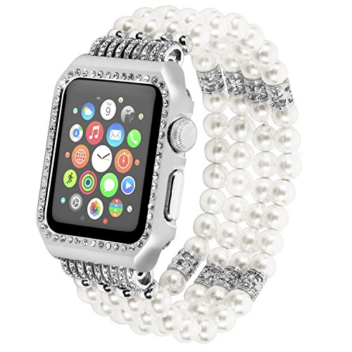 Case Watch Rhinestone (IMYMAX Replacement for Apple Watch Band with Metal Case 42mm Elastic Faux Pearl Beaded Bracelet Replacement iWatch Strap Rhinestone Protective Case for Apple Watch Series 3/2/1(White Band+Case))