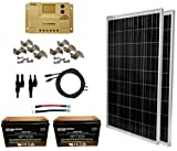 WINDYNATION 200 Watt Solar Panel Kit: 2pcs 100W Solar Panel + 20A LCD PWM Charge Controller + MC4 Connectors + Mounting Z Brackets + 2pcs 100ah AGM Deep Cycle 12V Battery for Off Grid, RV, Boat