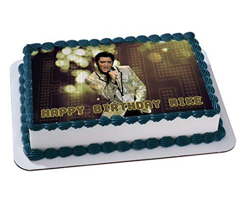 ELVIS PRESLEY Edible Cake Topper Personalized Birthday 1/4 Sheet Decoration Custom Sheet Party Birthday on Wafer Rice Paper -