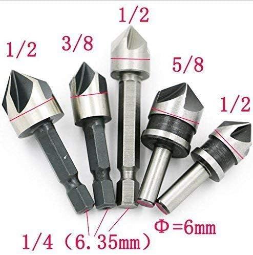 Juego de 5 brocas avellanadas para carpinter/ía con apertura r/ápida y cabeza avellanada HSS de 82 grados Haobase