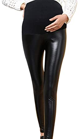 721eb87ef6835 Foucome Maternity Faux Leather Leggings High Waisted Stretchy Comfy Pnats Tights  Over The Belly Black