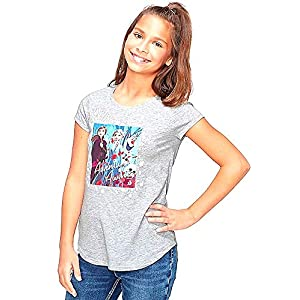 Disney Frozen 2 Tee Shirt for Girls (Gray, 8)