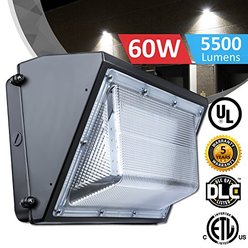 60W LED Wall Pack Lights Fixture, 250-350W HPS/HID Replacement, 5000K Daylight White 6000LM Commercial LED Lighting, Waterproof IP65 Outdoor Wall Pack Lighting, UL&DLC - Light Hps Fixtures