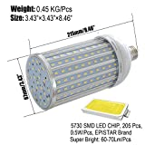 W-LITE Energy Saving 40W LED Corn Light Bulb, 340W Halogen Bulb Equivalent, Super Bright 4400Lm With 205 LED Chips, E26, 6000K/Daylight White, AC 86-265V, 1 - Pack