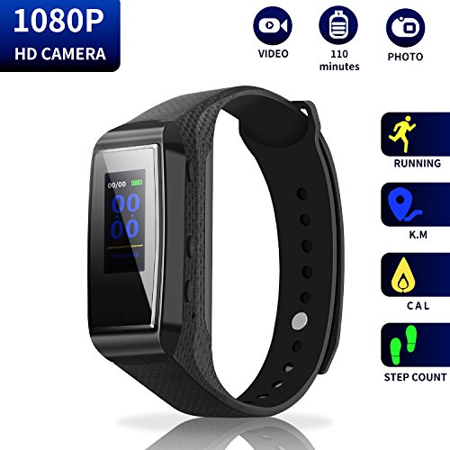 Hidden Camera Bracelet HD Mini Camcorder – Larger Display Version Spy Camera 1080p Wirst Band Sports Spycam LKcare Lens-Shielded Surveillance DVR with Tracker Function