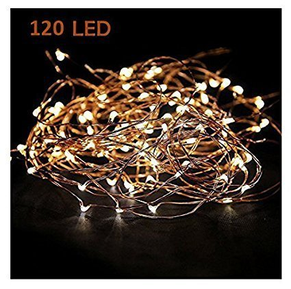 MineTom 120 LEDs 20ft Copper Wire String Lights Warm White Fairy Starry Lights on a Flexible Copper Wire - Perfect for Home Decoration Party Valentine's Day Wedding Christmas Tree.