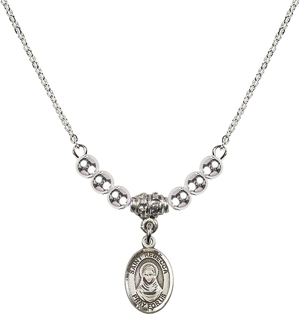 18-Inch Rhodium Plated Necklace with 4mm Sterling Silver Beads and Sterling Silver Saint Rebecca Charm.