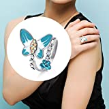 Neoglory Jewelry Christmas Valentines Day Gift Enamel Butterfly Bees Freesize Rings With Colorful Rhinestone 3 Colors