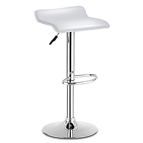 Peachy Costway Swivel Bar Stools Adjustable Pu Leather Backless Dining Counter Chair White Machost Co Dining Chair Design Ideas Machostcouk