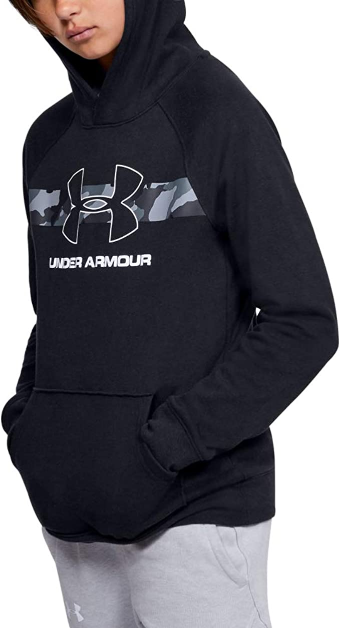 Under Armour Rival Hoodie, Black (001)/White, Youth X-Small