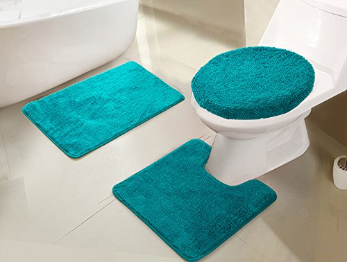 RT Designers Collection Imperial 3-Piece Bath Rug Set, Teal ()