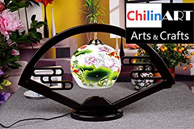 Antique ceramic table lamps, lotus and goldfish image of painting, color of Chinese painting, on behalf of the harvest and blessing