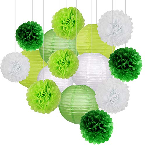 - 15Pcs Party Pack Paper Lanterns and Pom Pom Balls Hanging Decoration for St. Patrick's Day Wedding Birthday Baby Shower Green/White