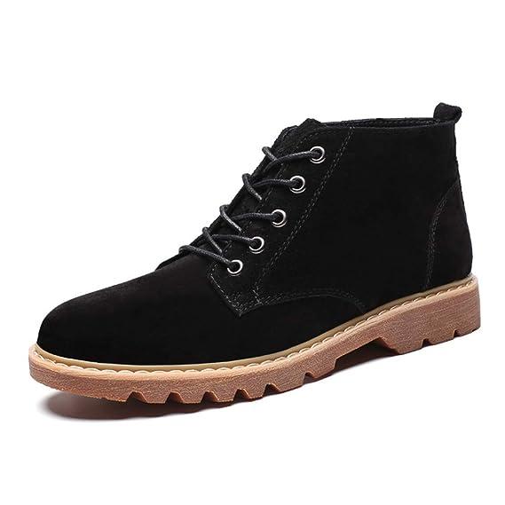 Apragaz Botas Casuales Simples de Gamuza Chukka para Hombres y Cómodos Botines con Cordones Zapatos de Vestir (Color : Negro, tamaño : 38 EU): Amazon.es: ...