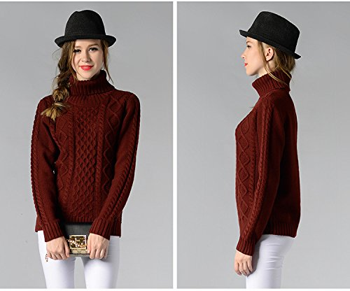 Pullover Sciolto Alta Maglia Donna Maglione Bodeaux Invernali X55Un70Wq