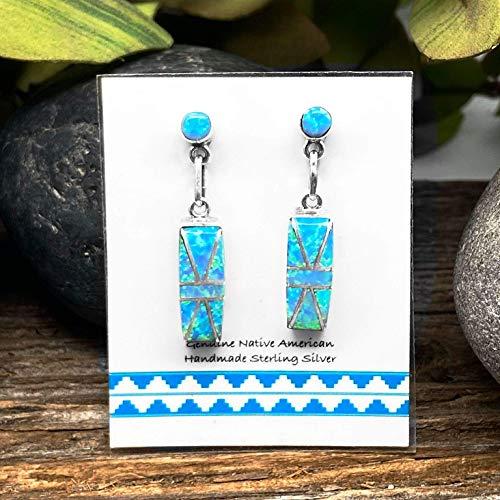 925 Sterling Native American Handmade 7mm Light Blue Desert Opal Stud Earrings