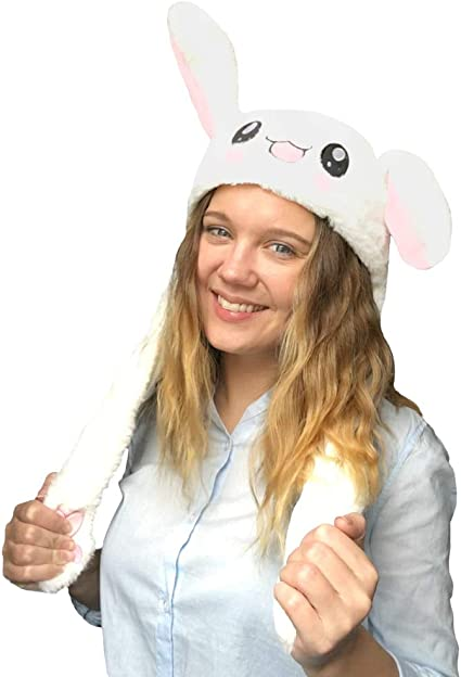 Bunny Hat Ear Moving Jumping Hat Plush Rabbit Hat Cute Cap with Paws for Women Girls