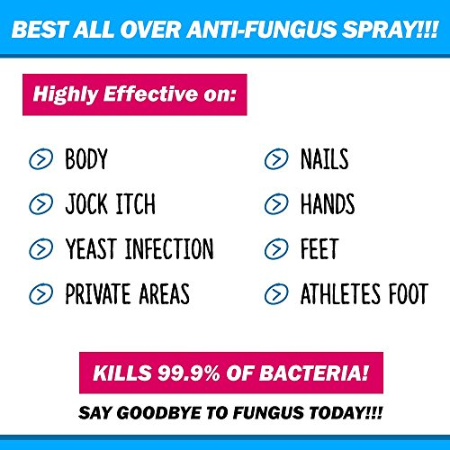 BEST ALL OVER ANTI-FUNGAL SPRAY - Kills 99.9% of Fungus - Safe for use on Body, Private Areas, Hands, Feet, Nails, Jock Itch, Ringworm & More! Men & Women - Anti-Fungal + Anti-Odor + Anti-Bacterial by FRESHHH! (Image #1)'