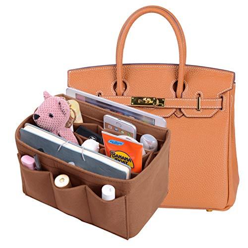 - Felt Insert Purse Organizer Bag Organizer With Sewn Bottom Insert Bag In Bag Organizer For Hermes Birkin 35 (Reddish Brown)