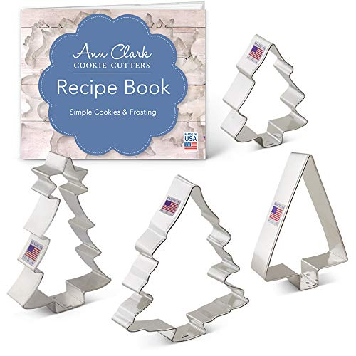 Christmas/Holiday Tree Cookie Cutter Set with Recipe Book - 4 Piece - Ann Clark Cookie Cutters - USA Made Steel Cut Out Christmas Cookies