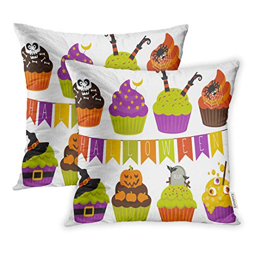 Emvency 16x16 Inch Decorative Set of 2 Throw Pillow Cover Orange Skull Cute Halloween Cupcakes Bat Black Candy Square Home Cushion Sofa Two Sides Pillow Case