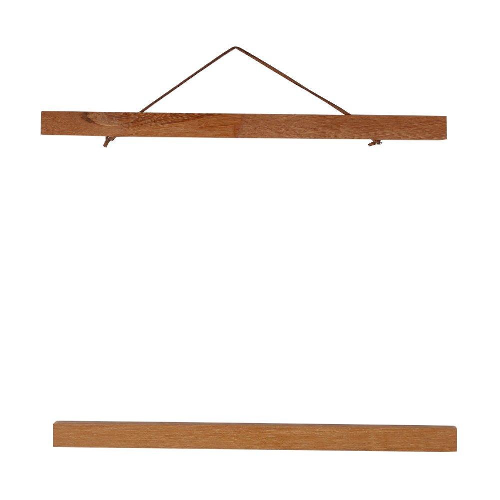 Wooden Photo Frame Modern Magnetic DIY Custom Poster Scroll Prints Artwork Hanger Teak Wood (30cm)