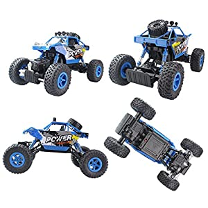 Fistone RC Car Rock Crawler 2.4G 1:18 4WD Off- Road Vehicle Remote Controlled Monster Truck Double Power Motor Climbing Car With Rechargeable Battery Electronic Children Toy Model(Blue)
