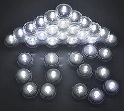 Samyo Set of 24 Waterproof Wedding Submersible Battery LED Tea Lights Underwater Sub Lights- Wedding Centerpieces Party Decorate