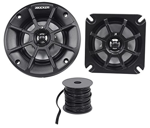"(2) Kicker 40PS44 4"" 60W ATV/UTV/RZR/Polaris Motorcycle Speakers+Marine Wire"