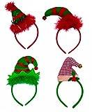 Christmas Headbands - Set of 4 Elves Party Hats Christmas Elf Headbands