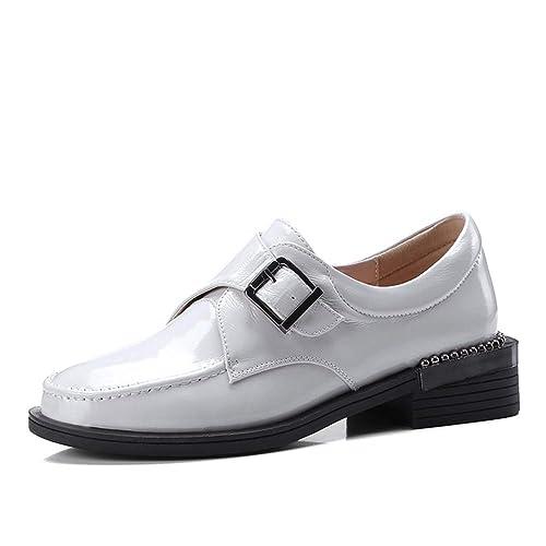Plataforma De Cuero De Vaca para Mujer Zapatos Vintage Punta Redonda Patente Hebilla De Cuero Correa TacóN Bajo Hecho A Mano Zapato Oxford: Amazon.es: ...