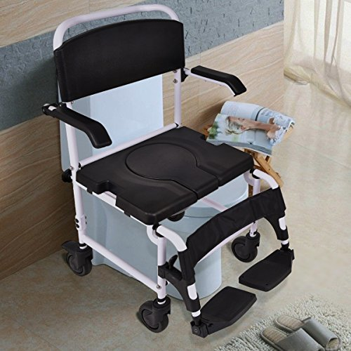 Giantex Bathroom Shower Toilet Commode Wheelchair w/ Drop Arms Locking Casters Patient Commode Wheel Chair Over Toilet - 5l Bath Fixture