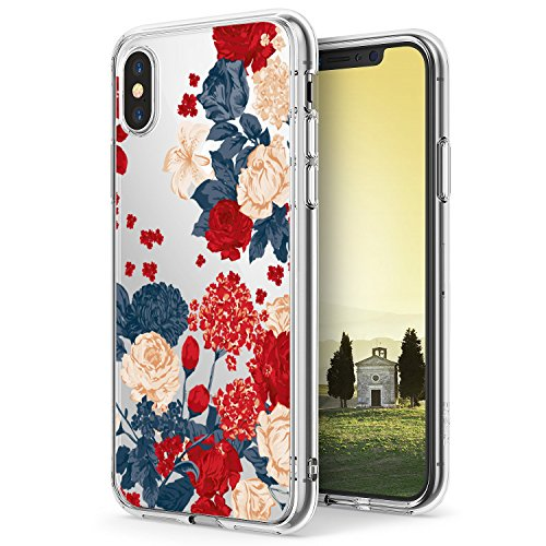 iPhone X Case,Flyeri Crystal Fashion Floral Pattern Transparent Clear Soft silicone TPU Ultra thin Phone cover back cases For apple iPhone X (2)