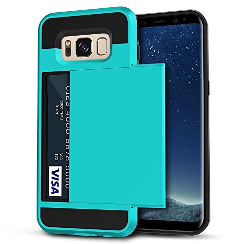 Galaxy S8 Plus Case, Anuck Slide Cover Galaxy S8 Plus Wallet Case [Card Pocket][Hard Shell] Shockproof Armor Rubber Bumper Case With Slidable Card Slot Holder for Samsung Galaxy S8 Plus - Light Blue