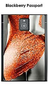 Kinghousse-Carcasa para Blackberry Passport, diseño de mujer sexy, color naranja