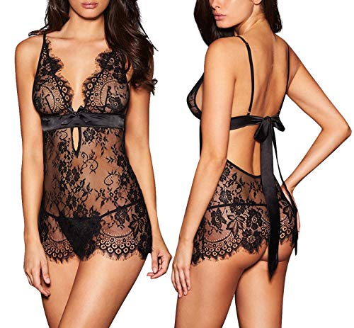 - AnloveKiss Women Sexy Lingerie Black Eyelash Lace Chemise Babydoll Nightwear Set See-Through (M, Black)