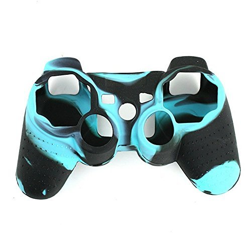 Lightning360 Premium Super Grip Glow Black Blue Silicon Protective Skin Case Cover for Sony Playstation PS3 Remote Controller (Ps3 Glow Stand)