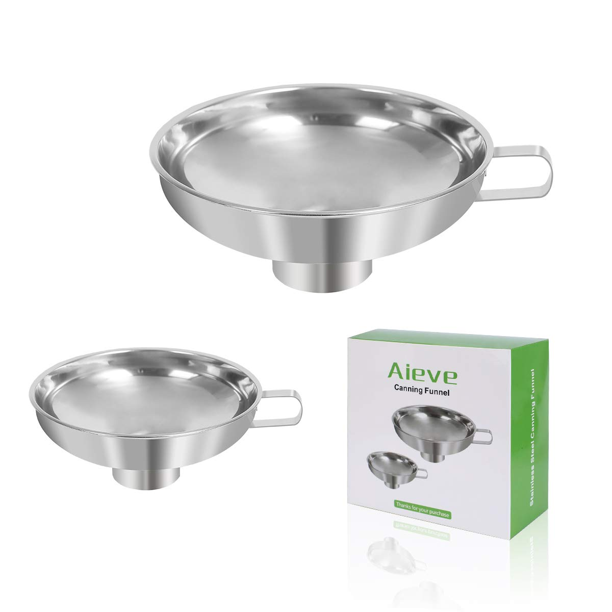 Canning Funnel,2 Pack Mason Jar Canning Funnel for Wide and Regular Jars,Stainless Steel Funnel Kitchen Funnel Set for Mason Jars Canning Jars Transferring Liquid and Dry Ingredients(Small and Large) by AIEVE