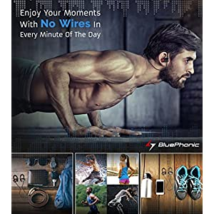 Bluephonic Bluetooth Wireless Headphones | DeepBassX Beats HD Stereo Sound | IPX7 Sweat & Water Proof Fit In Ear Workout Sport Earbuds | Noise Cancelling Running Earphones | Built In Mic | Play 8 hr