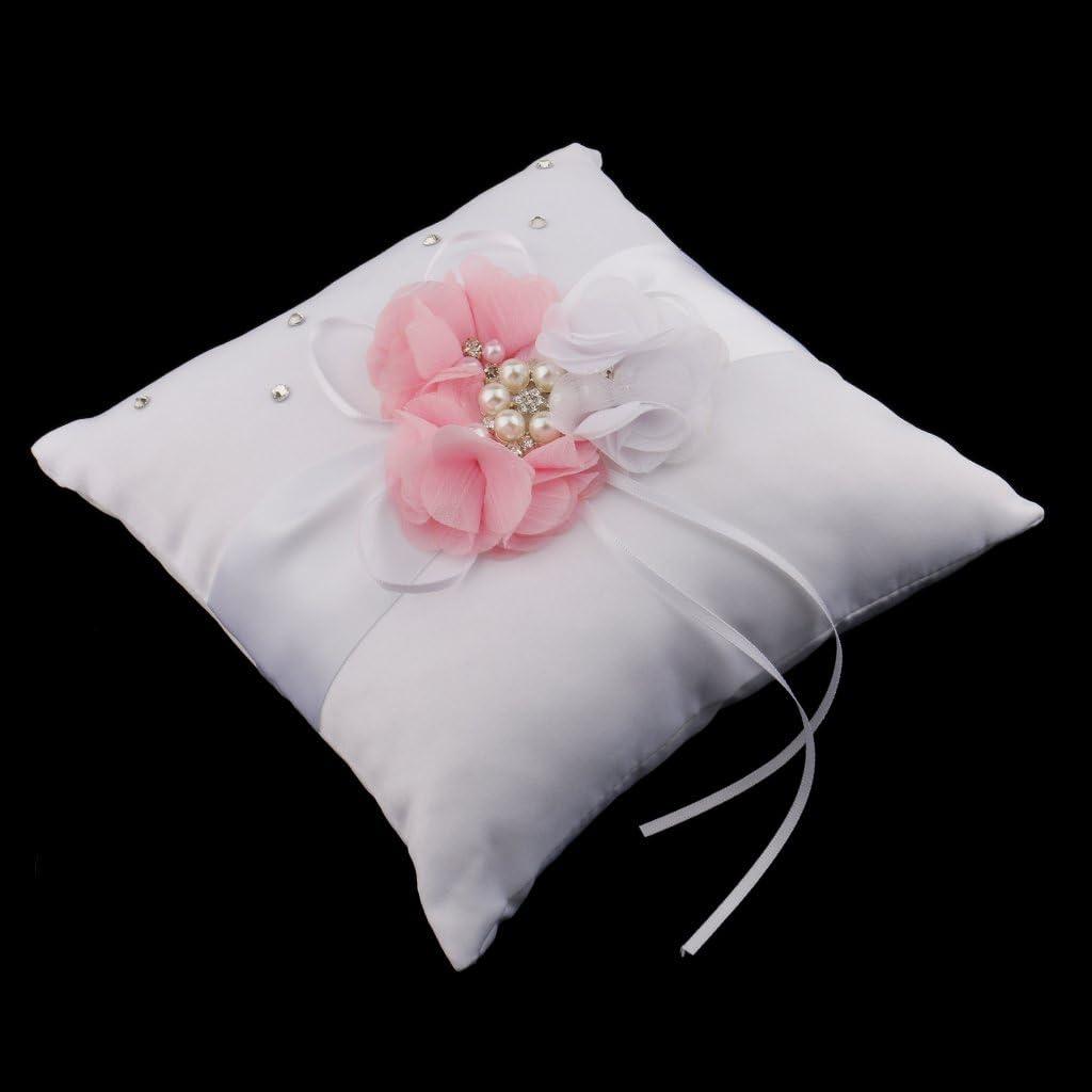 Homyl Porta Anello FEDI Nuziali Cuscino Rosa di Panno Strass per Nozze