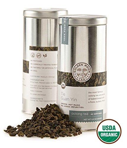 Golden Moon Tea - Tie Guan Yin Tea - Organic - Loose Leaf - Non GMO - 3.3oz Tin - 40 Servings