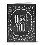 Chalkboard Thank You - 36 Note Cards - 6 Designs - Kraft Envelopes Included