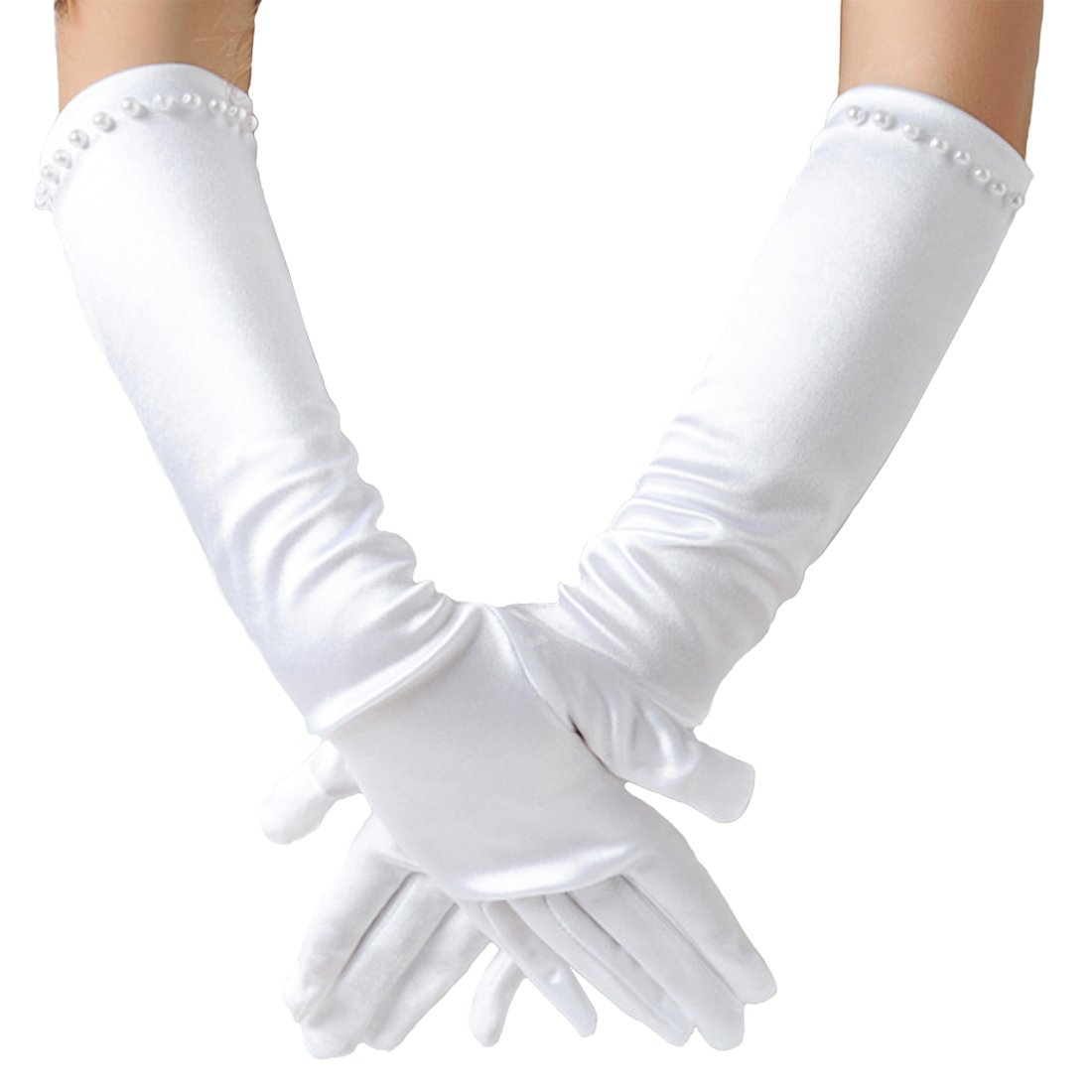 Elesa Miracle Girls Pearl White Satin Formal Gloves, Child Size Long Gloves, for Age 4-7 Years (Pearl White)