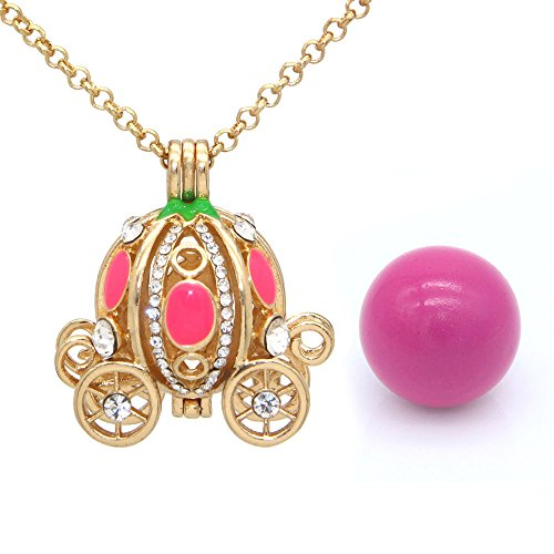 Crystal Pumpkin Carriage Pendant Necklace Aromatherapy Essential Oil Diffuser Locket Jewelry With 1 Bell