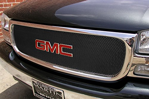 MX Series Black Upper 1pc Mesh Grill Grille Insert for GMC Sierra Yukon (Gmc Yukon Grillcraft Grille)
