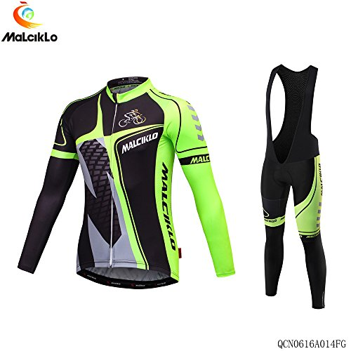 MALCIKLO Professional Quick-dry Men's Long Sleeve Cycling Jerseys? Full Sleeve Riding Wear Breathable Cycling Fitness Set Bicycle Clothing Shirts Riding Apparel (Long Jersey Retro Sleeve)