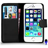 Apple iPhone 5 / 5S Premium Leather Black Wallet Flip Case Cover Pouch + Mini Touch Stylus Pen + BLUE 2 IN 1 Dust Stopper + Screen Protector & Polishing Cloth BY SHUKAN®, (WALLET BLACK)