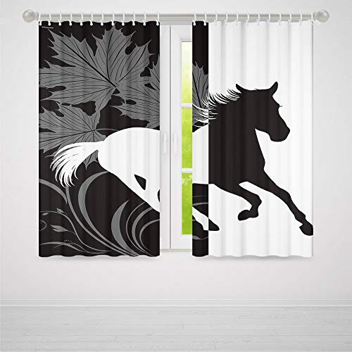 Window Curtains Blackout,Horse Decor,for Bedroom Living Dining Room Kids Youth Room,Silhouette of Mustang in Monochrome Abstract Framework Maple Leaves Sprigs Decorative2 Panel Set,103W X 94L Inches