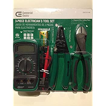 3 Piece Electricians Tool Set, AC DC Current, Resistance, Diode, DMM Digital